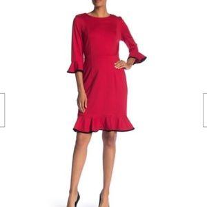 Nanette Lepore Cocktail Red Dress Trumpet Flounce